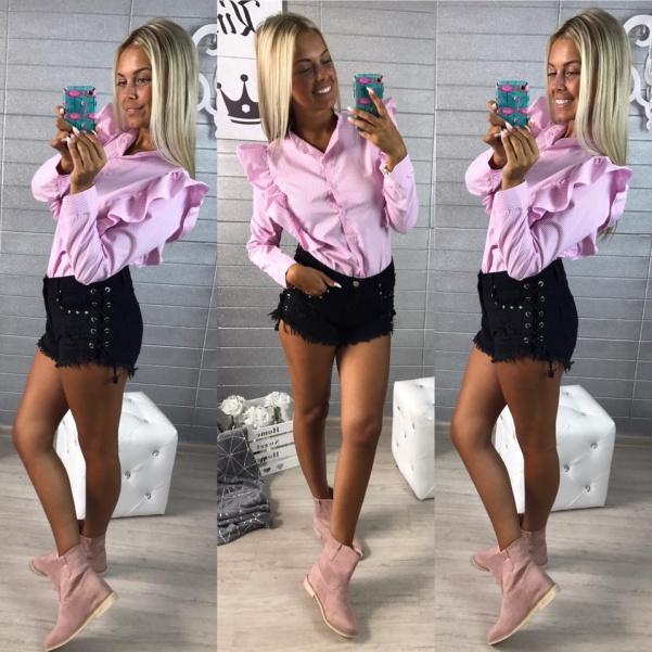 Krásná košile s volánky růžová