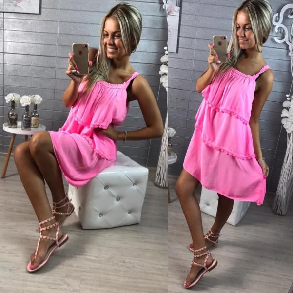 Neon ružové šatičky na ramínka