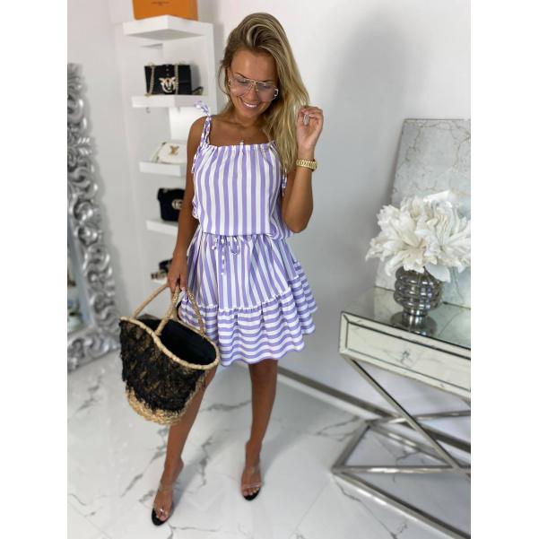 Super šaty s proužky - fialové