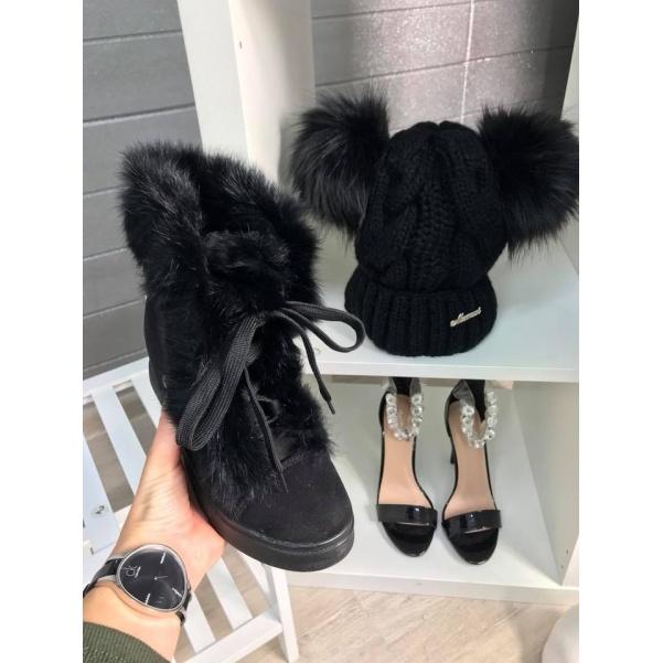Vyteplené botičky s kožíškem Black