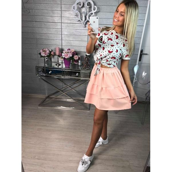 Volánová růžová sukně