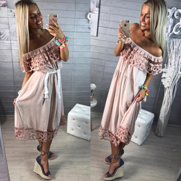 Delší lehounké šaty s volánkem- růžové