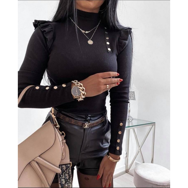 Krásné pohodové tuniky s volánky a zlatými ozdobami- Black