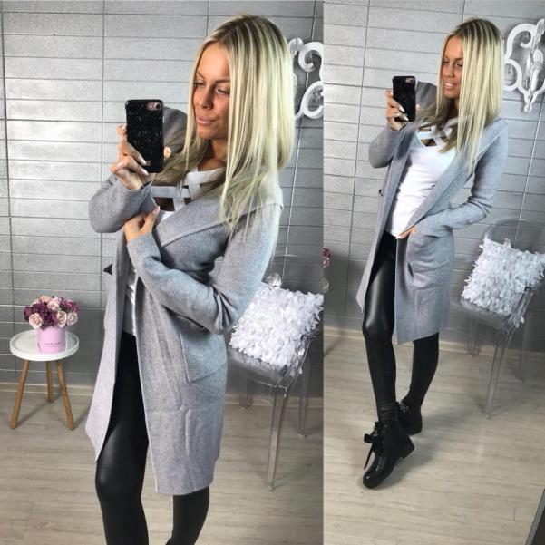 Kabátkový svetřík - šedý