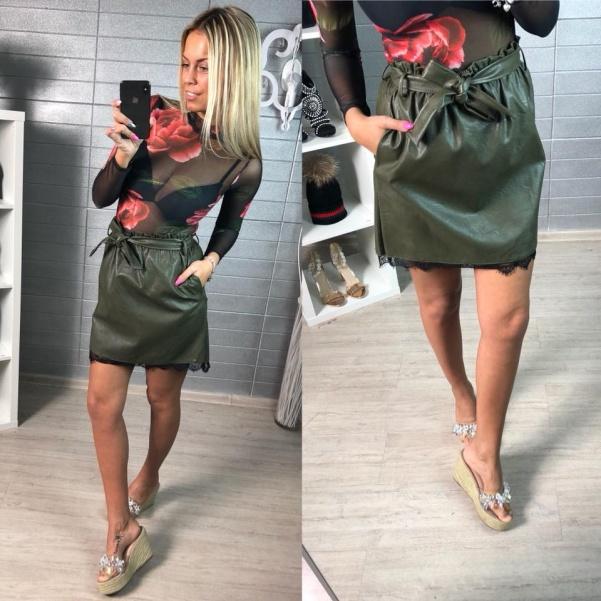Khaki kožená suknička s krajkou