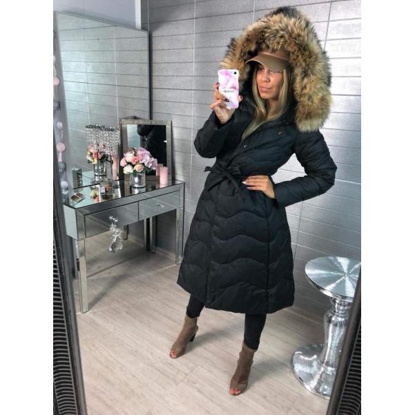 Péřový kvalitní long kabátek s pravým kožichem - black