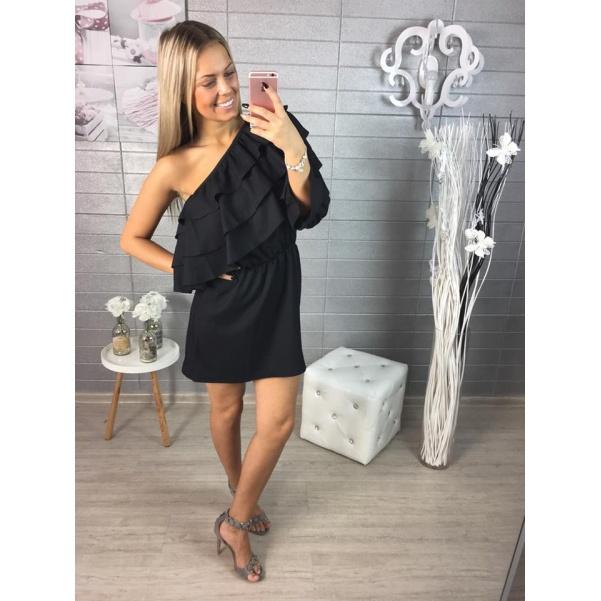 Luxusní černé šaty s volánky