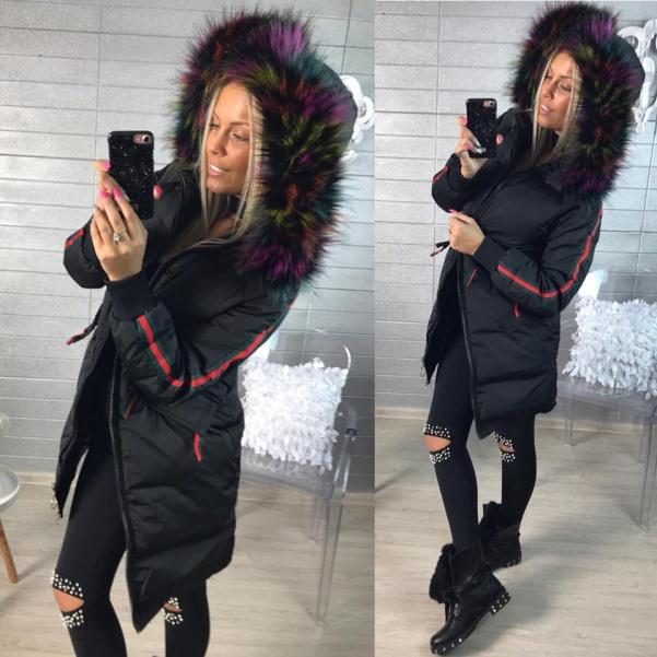 Black bundička s barevným kožíškem