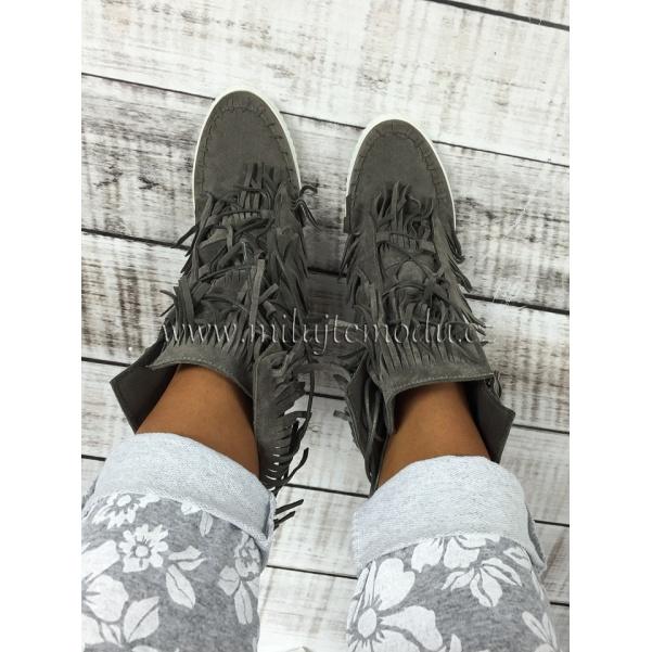 Luxusní šedé boty se střapcemi