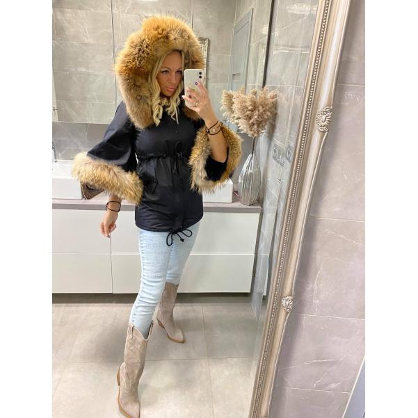 Luxusní bunda s natur kožíšky