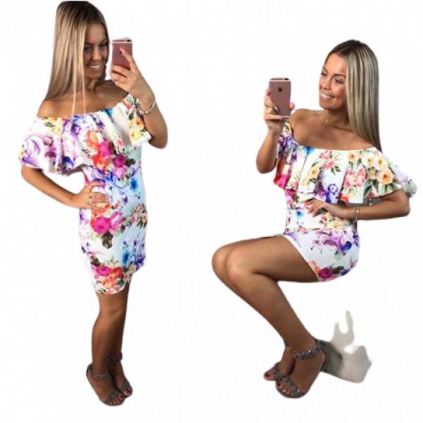 Květinkové šaty s volánkem bíla
