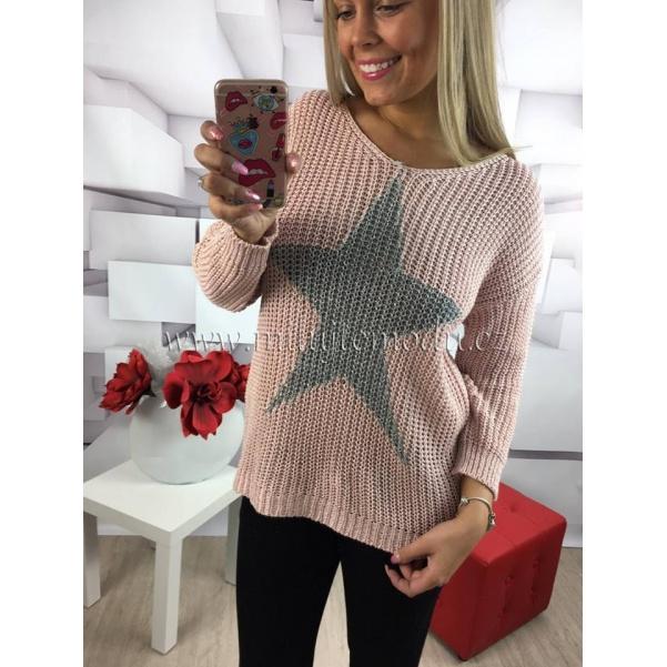 Růžový svetr STAR