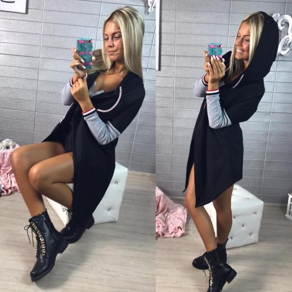 Top MIKINA cardigan s kapucí - BLACK