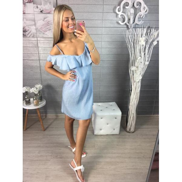 Riflové šaty s volánkem