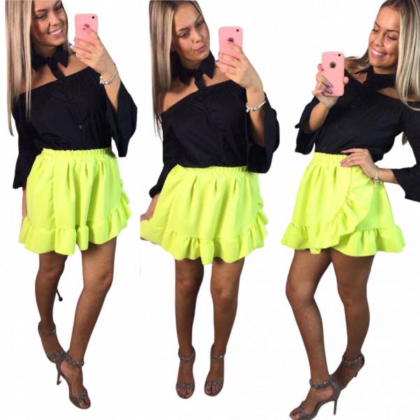 Neon bohatá volánová sukně