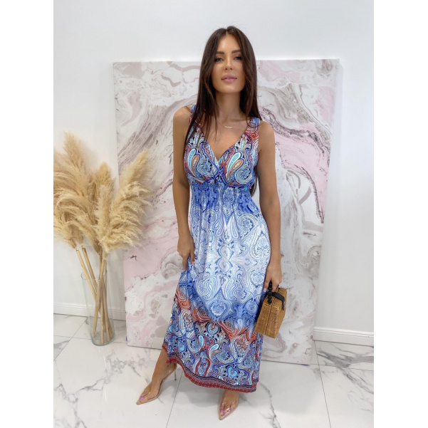 Elastické dlouhé šaty v nové barvě  - Blue