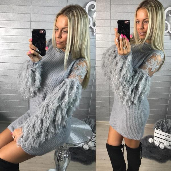 Luxusní svetříkové šaty - PARIS - šedá