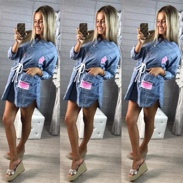 Jeansový kabátek na šněrování