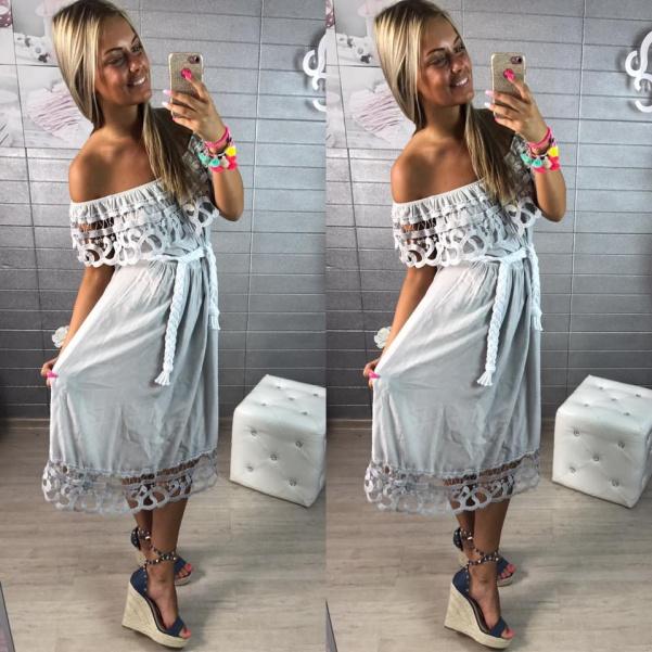 Delší lehounké šaty s volánkem- šedé