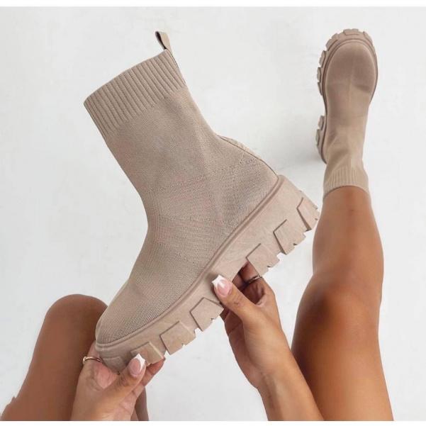 Béžové ponožkové tenisky