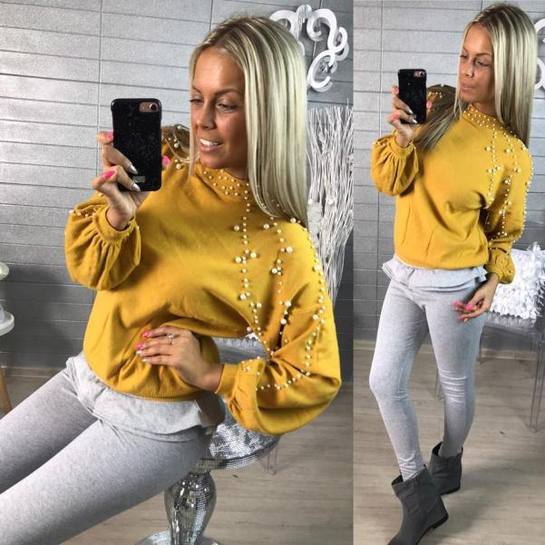Luxusní svetřík s perličkami- Žlutá