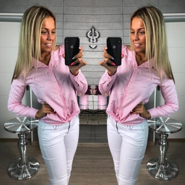 Pink košile s perličkami