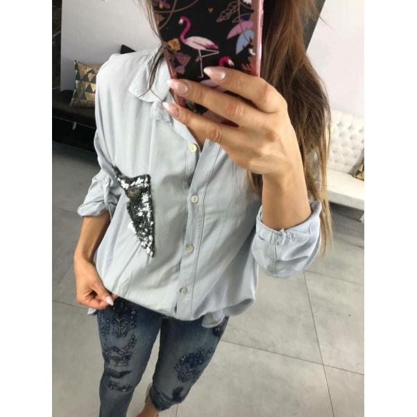 Košile s kapsou šedá