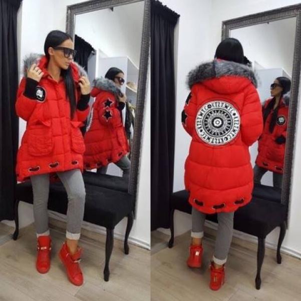 Luxusní červená bunda s kožíškem
