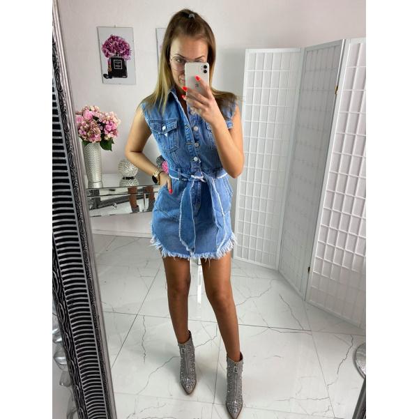 Perfektní riflové šaty s páskem - Dali