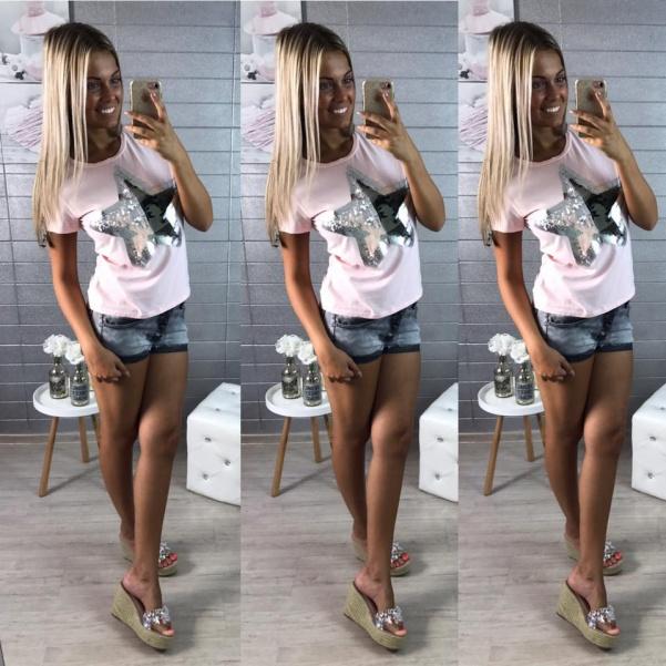 Krásné triko s hvězdou- jemně růžová