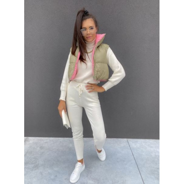 Oboustranná vesta - khaki/růžová
