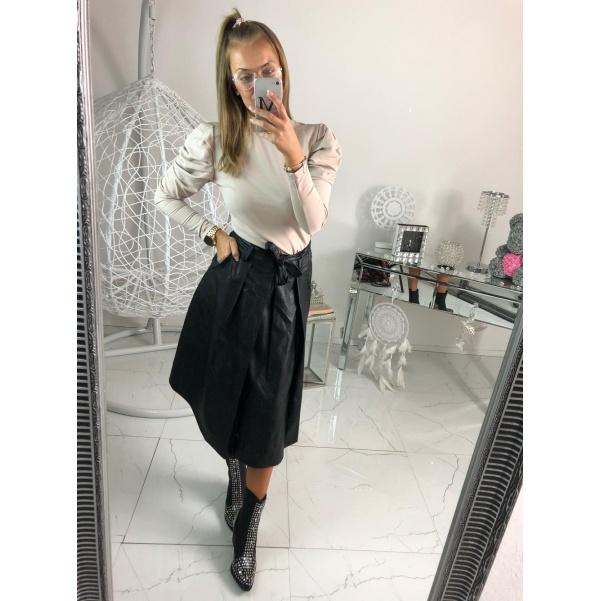Koženková sukně s mašlí