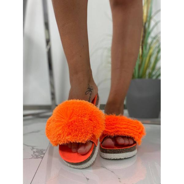 TOP chlupaté cuklíky neon oranžové