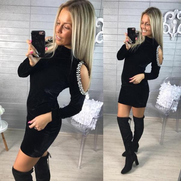 Luxusní šatičky s perličkami - černé