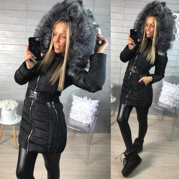 Krásná zimní bundička s páskem -Black