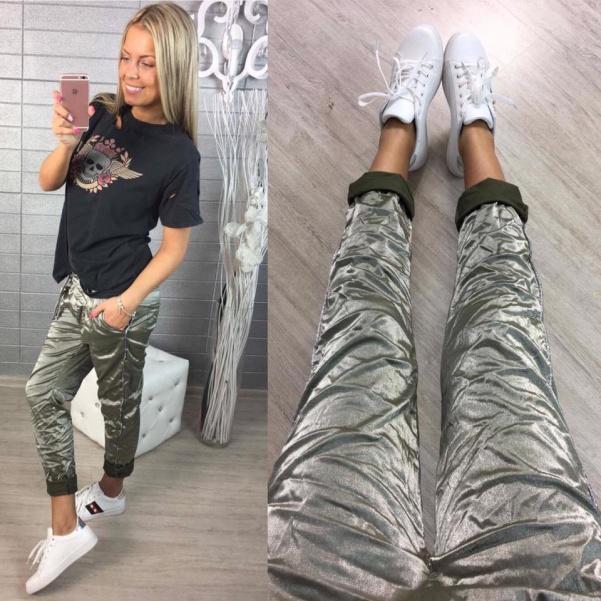 Lesklé khaki kalhoty