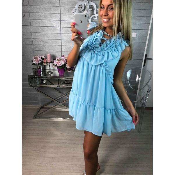 Luxusní lehounké volánkové šaty-blue