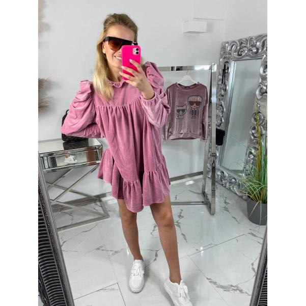 Velurové šaty - pink