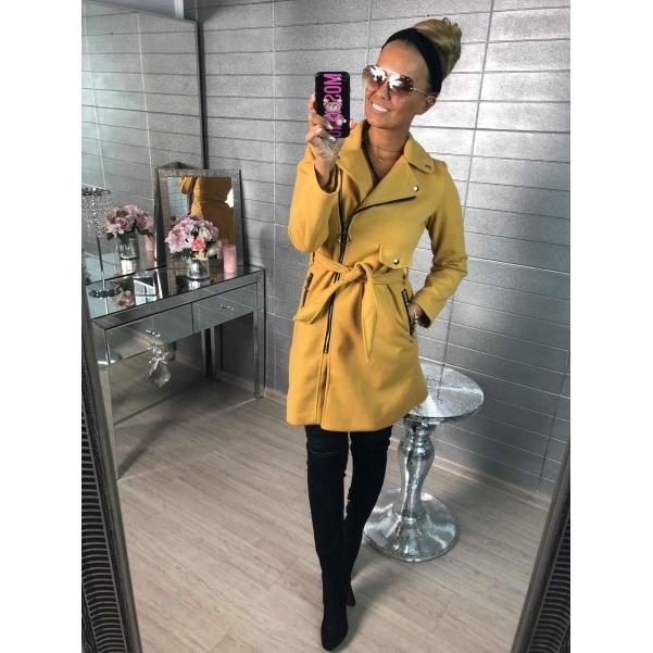 Luxusní kabátek s páskem-žlutý