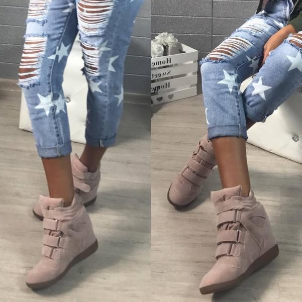 Pink botičky na platformě
