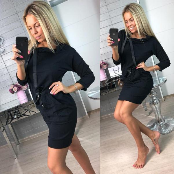 Teplákové šaty s vázáním černé