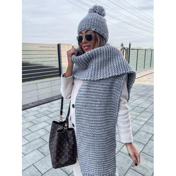Pletený šál - šedý
