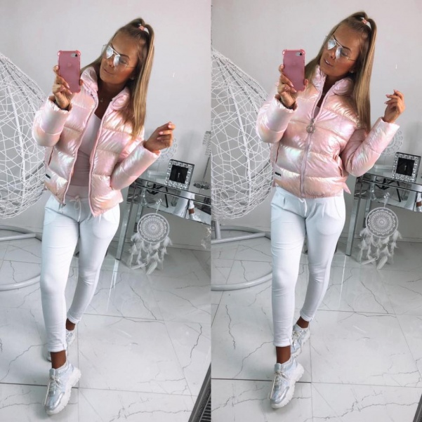 TOP perleťová měnící bomber bunda růžová