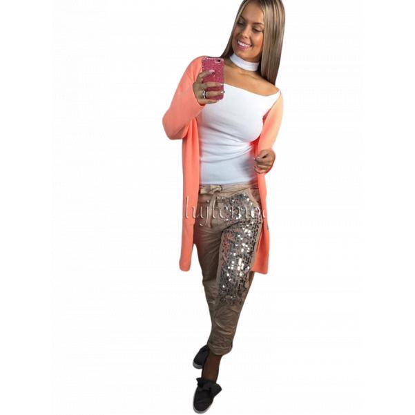 Béžové kalhoty s flitry