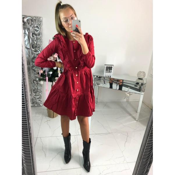 Krásné volánkové šaty - bordo