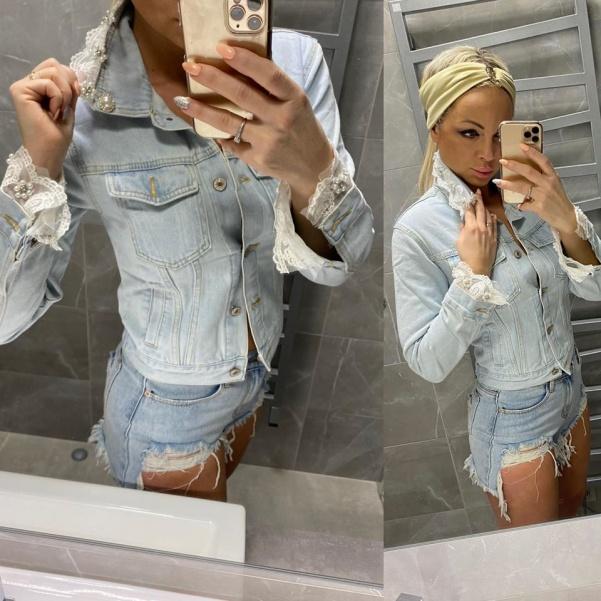 Super jeans bundička s krajkami - Lusin