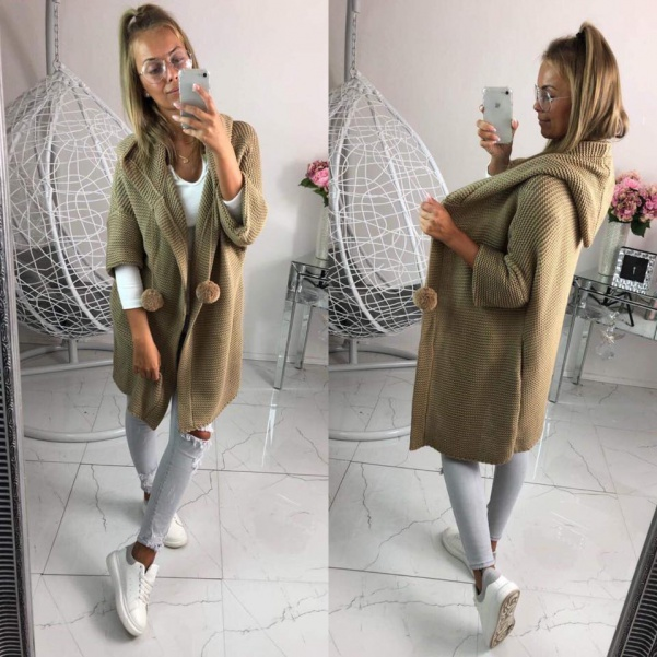 Kabátko svetr s bambulkami - Camel