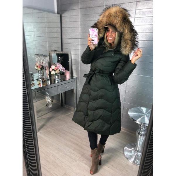 Péřový kvalitní long kabátek s pravým kožichem - khaki
