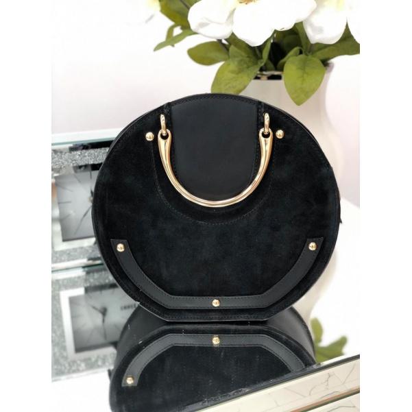 Luxusní kožená kabelka se zlatými doplňky - black
