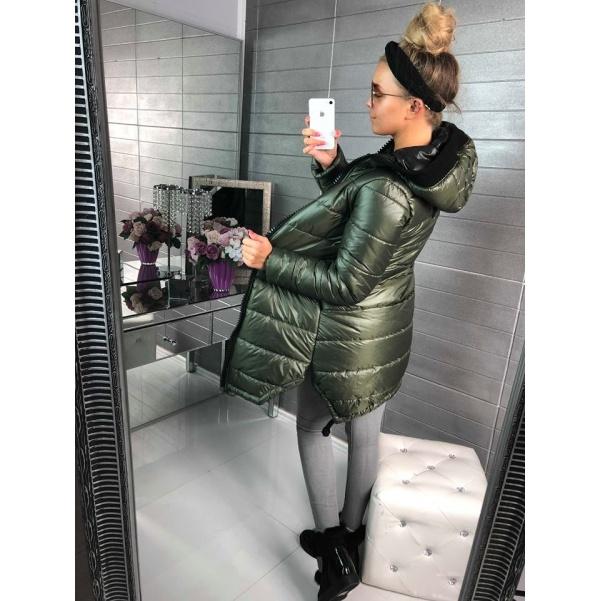 Extra bundička s velkým zipem a kapucí - khaki